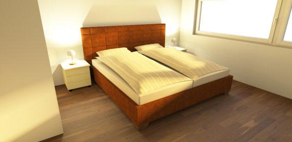 Bett mit Leder und Stoff bezogen
