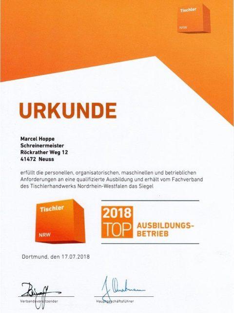 Top Ausbildungsbetrieb Tischler NRW